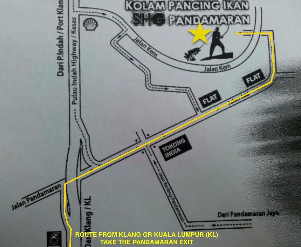 Directions we took marked in Yellow.  Star marks the pond.  Map taken from FB page of SHG Pond.