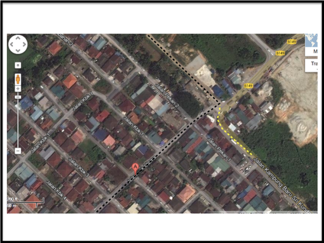 Based on Google Map, that road is accessible via Jalan KBK Utama (black dots) as well as Jalan Kampung Baru Sri Kundang (yellow dots)
