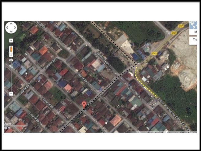 Based on Google Map, that road is accessible via Jalan KBK Utama (black dots) as well as Jalan Kampung Baru Sri Kundang (yellow dots)