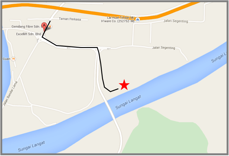 Google Map will take you to spot marked A, follow the highlighted directions on this image to reach the pond- Marked with a star. Turn left from A followed by a right turn towards the bridge, enter the slip road on the left towards the pond.
