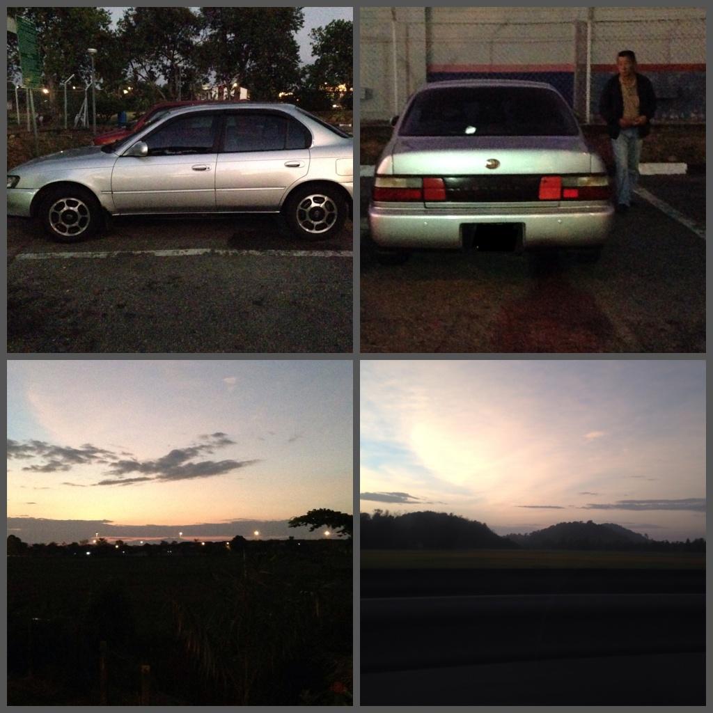 San's trusty Toyota Corolla and the beautiful sunrise