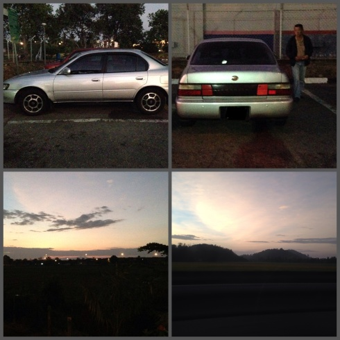 San's trusty Toyota Corolla and the beautiful sunrise