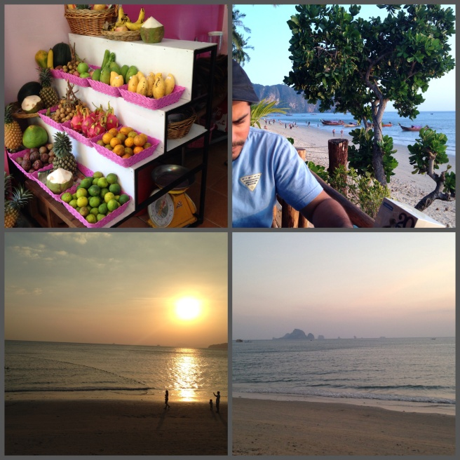 Fresh fruits are a big thing in Thailand. Beautiful sunset at the restaurant with the Islands at the back.