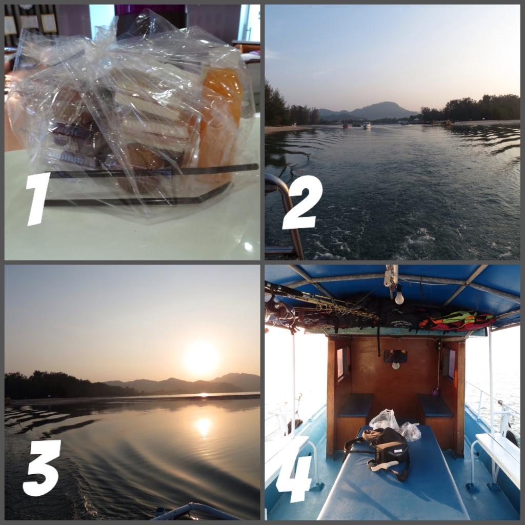1- The breakfast box 2- Heading out of Nopparat Thara pier 3- Another beautiful sunrise 4- Interior of the big game boat