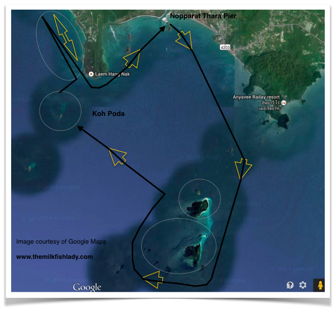 The route we took from the Nopparat Thara Pier. Circles mark areas we spent time trolling around.