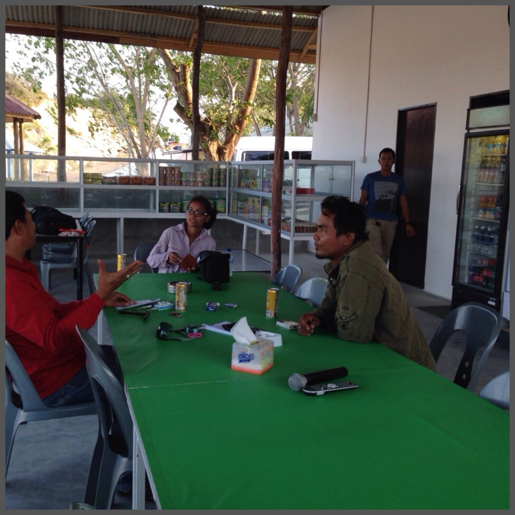 Learning more about the pond with Mr. Sulaiman on the left and Mr. April on the right